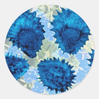 Aqua Forget-me-not seeds (Myosotis palustris) flow Round Sticker