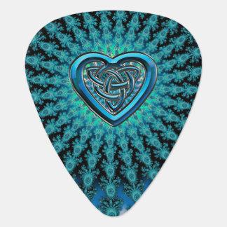 Aqua Fractal Celtic Heart Knot Music Guitar Pick
