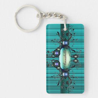 Aqua Frog Prince Key Chain Rectangular Acrylic Key Chains