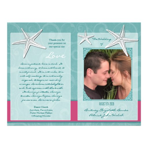 "Aqua & Fuchsia Beach Wedding Ceremony Programs 8.5"" X 11"" Flyer"