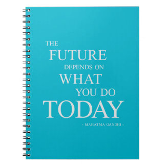 Aqua Future Inspirational Motivational Quote Note Spiral Notebook