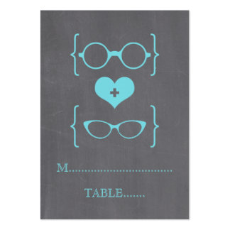 Aqua Geeky Glasses Chalkboard Place Cards Large Business Cards (Pack Of 100)