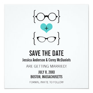 Aqua Geeky Glasses Save the Date Announcement