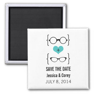 Aqua Geeky Glasses Save the Date Magnet