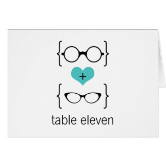 Aqua Geeky Glasses Table Number Card
