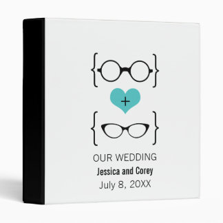 Aqua Geeky Glasses Wedding Binder
