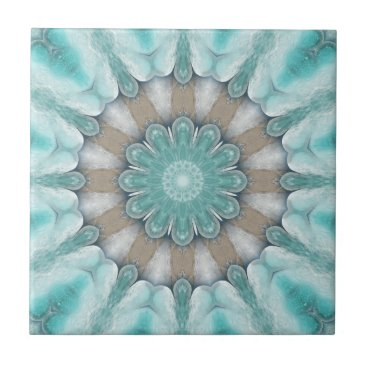 Beach Themed Aqua Geometric Floral Beach Star Bathroom Tile
