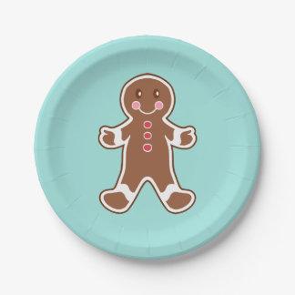 Aqua Gingerbread Boy Paper Plates