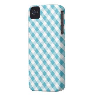 Aqua Gingham Pattern iPhone 4 Case