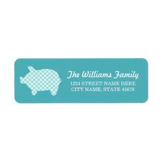 Aqua Gingham Piggie Address Labels