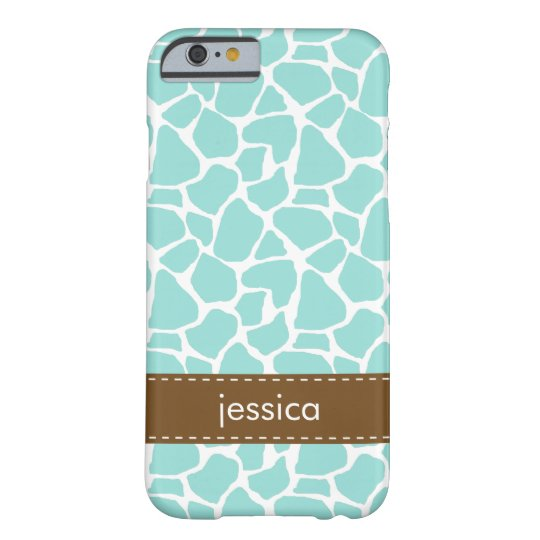 Aqua Giraffe Pattern Barely There iPhone 6 Case