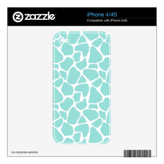 Aqua Giraffe Pattern iPhone 4S Decals