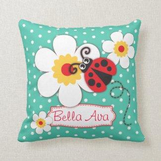Aqua girls ladybug name flower polka dot pillow