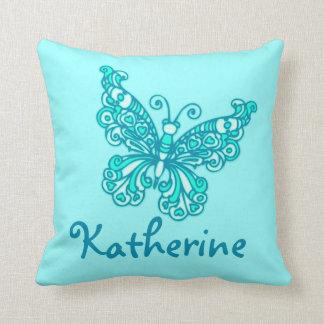 Aqua girls named butterfly cushion pillow