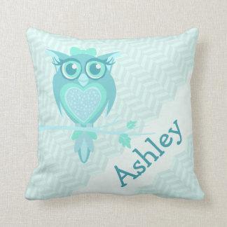Aqua girls named owl chervon cushion pillow