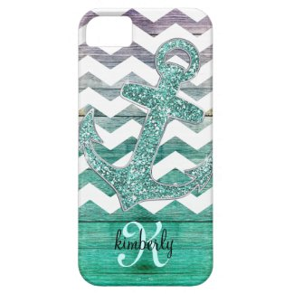 Aqua Glitter Anchor Chevron on Wood Personalized iPhone 5 Cover