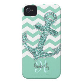 Aqua Glitter Anchor White Chevron Personalized iPhone 4 Cases