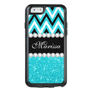 Aqua Glitter B&W Chevron OtterBox iPhone 6/6s Case