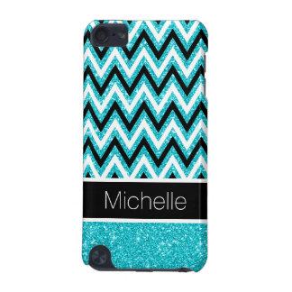 Aqua Glitter Black Chevron 5G iPod Touch Case