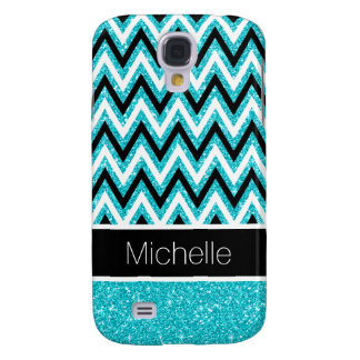 Aqua Glitter Black Chevron Galaxy 4 Case