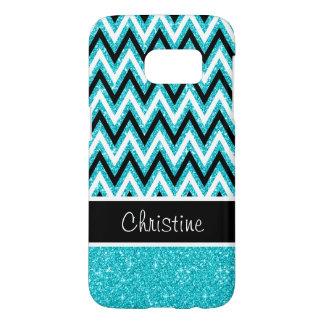 Aqua Glitter Black Chevron Galaxy S7 Case