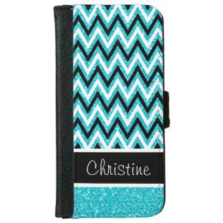 Aqua Glitter & Black Chevron iPhone 6 Wallet Case
