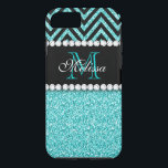 "AQUA GLITTER BLACK CHEVRON MONOGRAM iPhone 8/7 CASE<br><div class=""desc"">AQUA GLITTER BLACK CHEVRON MONOGRAM. Elke Clarke &#169;. Original design. More styles available in our store Monogramgallery at Zazzle. GIRLY MODERN AQUA TEAL BLUE GLITTER (PRINTED PHOTO EFFECT) WITH BLACK AND CHEVRON PATTERN, MONOGRAMMED WITH YOUR NAME, YOUR INITIAL OR MONOGRAM ON A BLACK STRIPE OR BAND WITH A BORDER OF...</div>"