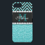 """AQUA GLITTER BLACK CHEVRON MONOGRAM iPhone 8/7 CASE<br><div class=""""desc"""">AQUA GLITTER BLACK CHEVRON MONOGRAM. Elke Clarke &#169;. Original design. More styles available in our store Monogramgallery at Zazzle. GIRLY MODERN AQUA TEAL BLUE GLITTER (PRINTED PHOTO EFFECT) WITH BLACK AND CHEVRON PATTERN, MONOGRAMMED WITH YOUR NAME, YOUR INITIAL OR MONOGRAM ON A BLACK STRIPE OR BAND WITH A BORDER OF...</div>"""