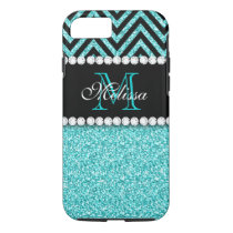 AQUA GLITTER BLACK CHEVRON MONOGRAM iPhone 8/7 CASE