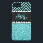 """AQUA GLITTER BLACK CHEVRON MONOGRAM iPhone 8 PLUS/7 PLUS CASE<br><div class=""""desc"""">AQUA GLITTER BLACK CHEVRON MONOGRAM. Elke Clarke&#169; 2013 Original design. More styles available in our store Monogramgallery at Zazzle. GIRLY MODERN AQUA TEAL BLUE GLITTER (PRINTED PHOTO EFFECT) WITH BLACK AND CHEVRON PATTERN, MONOGRAMMED WITH YOUR NAME, YOUR INITIAL OR MONOGRAM ON A BLACK STRIPE OR BAND WITH A BORDER OF...</div>"""