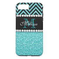 AQUA GLITTER BLACK CHEVRON MONOGRAM iPhone 8 PLUS/7 PLUS CASE