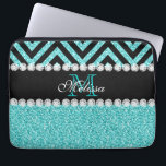 """AQUA GLITTER BLACK CHEVRON MONOGRAM LAPTOP SLEEVE<br><div class=""""desc"""">AQUA GLITTER BLACK CHEVRON MONOGRAM. Elke Clarke&#169; 2013 Original design. More styles available in our store Monogramgallery at Zazzle. GIRLY MODERN AQUA TEAL BLUE GLITTER (PRINTED PHOTO EFFECT) WITH BLACK AND CHEVRON PATTERN, MONOGRAMMED WITH YOUR NAME, YOUR INITIAL OR MONOGRAM ON A BLACK STRIPE OR BAND WITH A BORDER OF...</div>"""