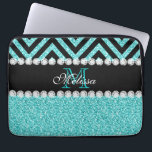 "AQUA GLITTER BLACK CHEVRON MONOGRAM LAPTOP SLEEVE<br><div class=""desc"">AQUA GLITTER BLACK CHEVRON MONOGRAM. Elke Clarke&#169; 2013 Original design. More styles available in our store Monogramgallery at Zazzle. GIRLY MODERN AQUA TEAL BLUE GLITTER (PRINTED PHOTO EFFECT) WITH BLACK AND CHEVRON PATTERN, MONOGRAMMED WITH YOUR NAME, YOUR INITIAL OR MONOGRAM ON A BLACK STRIPE OR BAND WITH A BORDER OF...</div>"
