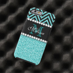 AQUA GLITTER BLACK CHEVRON MONOGRAM TOUGH iPhone 6 CASE