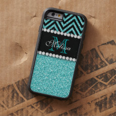 AQUA GLITTER BLACK CHEVRON MONOGRAM TOUGH XTREME iPhone 6 CASE