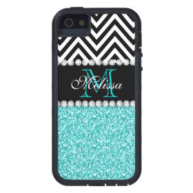 AQUA GLITTER BLACK CHEVRON MONOGRAMMED iPhone 5 CASES