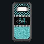 "AQUA GLITTER BLACK CHEVRON MONOGRAMMED OtterBox COMMUTER SAMSUNG GALAXY S8 CASE<br><div class=""desc"">AQUA GLITTER BLACK CHEVRON MONOGRAM. Elke Clarke&#169; Original design. More styles available in our store Monogramgallery at . GIRLY MODERN AQUA TEAL BLUE GLITTER (PRINTED PHOTO EFFECT) WITH BLACK AND CHEVRON PATTERN, MONOGRAMMED WITH YOUR NAME, YOUR INITIAL OR MONOGRAM ON A BLACK STRIPE OR BAND WITH A BORDER OF PRINTED...</div>"