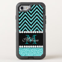 AQUA GLITTER BLACK CHEVRON MONOGRAMMED OtterBox DEFENDER iPhone 7 CASE