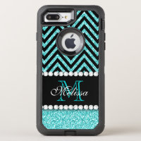 AQUA GLITTER BLACK CHEVRON MONOGRAMMED OtterBox DEFENDER iPhone 7 PLUS CASE