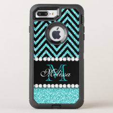 Aqua Glitter Black Chevron Monogrammed Otterbox Defender Iphone 7 Plus Case at Zazzle