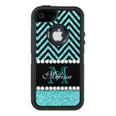 Aqua Glitter Black Chevron Monogrammed Otterbox Defender Iphone Case at Zazzle