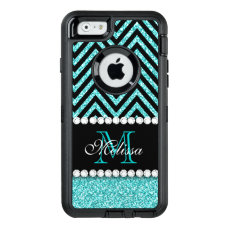 AQUA GLITTER BLACK CHEVRON MONOGRAMMED OtterBox DEFENDER iPhone CASE