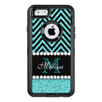 Aqua Glitter Black Chevron Monogrammed Otterbox Defender Iphone Case by monogramgallery at Zazzle