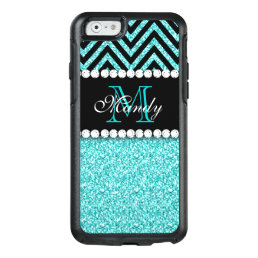 AQUA GLITTER BLACK CHEVRON MONOGRAMMED OtterBox iPhone 6/6S CASE