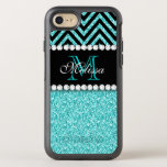 "AQUA GLITTER BLACK CHEVRON MONOGRAMMED OtterBox SYMMETRY iPhone 8/7 CASE<br><div class=""desc"">AQUA GLITTER BLACK CHEVRON MONOGRAM. Elke Clarke&#169; Original design. More styles available in our store Monogramgallery at Zazzle. GIRLY MODERN AQUA TEAL BLUE GLITTER (PRINTED PHOTO EFFECT) WITH BLACK AND CHEVRON PATTERN, MONOGRAMMED WITH YOUR NAME, YOUR INITIAL OR MONOGRAM ON A BLACK STRIPE OR BAND WITH A BORDER OF PRINTED...</div>"