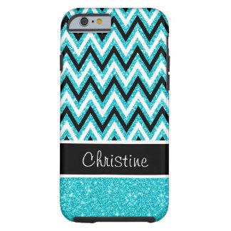 Aqua Glitter Black Chevron Tough iPhone 6 Case