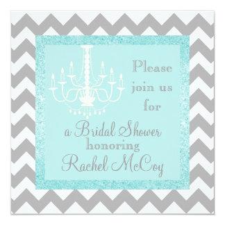 Aqua Glitter Chandelier Bridal Shower Invitaton Card