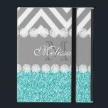 "AQUA GLITTER, GRAY CHEVRON, MONOGRAMMED iPad COVER<br><div class=""desc"">GIRLY MODERN PRINTED AQUA BLUE GLITTER (PRINTED PHOTO EFFECT) WITH GRAY AND WHITE CHEVRON PATTERN, MONOGRAMMED WITH YOUR NAME, YOUR INITIAL OR MONOGRAM ON A GRAY STRIPE OR BAND WITH A BORDER OF PRINTED WHITE DIAMONDS. TRENDY, CHIC, COOL, CUTE DESIGN FOR HER, THE TRENDSETTER, THE FASHIONISTA. Design by Elke Clarke&#169;...</div>"