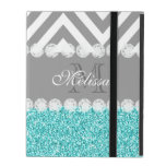 AQUA GLITTER, GRAY CHEVRON, MONOGRAMMED iPad COVER<br><div class='desc'>GIRLY MODERN PRINTED AQUA BLUE GLITTER (PRINTED PHOTO EFFECT) WITH GRAY AND WHITE CHEVRON PATTERN, MONOGRAMMED WITH YOUR NAME, YOUR INITIAL OR MONOGRAM ON A GRAY STRIPE OR BAND WITH A BORDER OF PRINTED WHITE DIAMONDS. TRENDY, CHIC, COOL, CUTE DESIGN FOR HER, THE TRENDSETTER, THE FASHIONISTA. Design by Elke Clarke&#169;...</div>