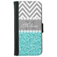 AQUA GLITTER, GRAY CHEVRON, MONOGRAMMED iPhone 6/6S WALLET CASE